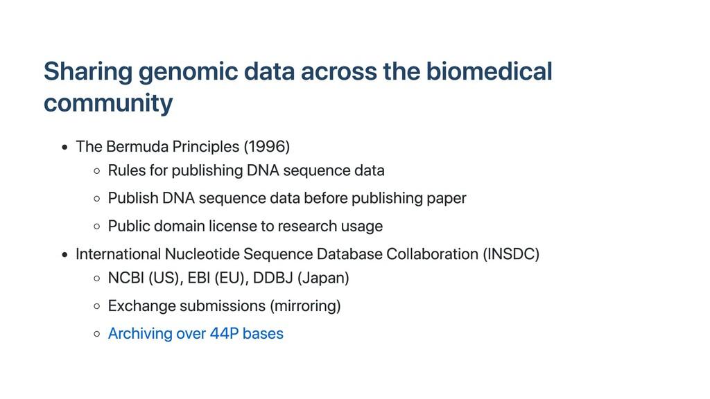Sharing genomic data across the biomedical comm...