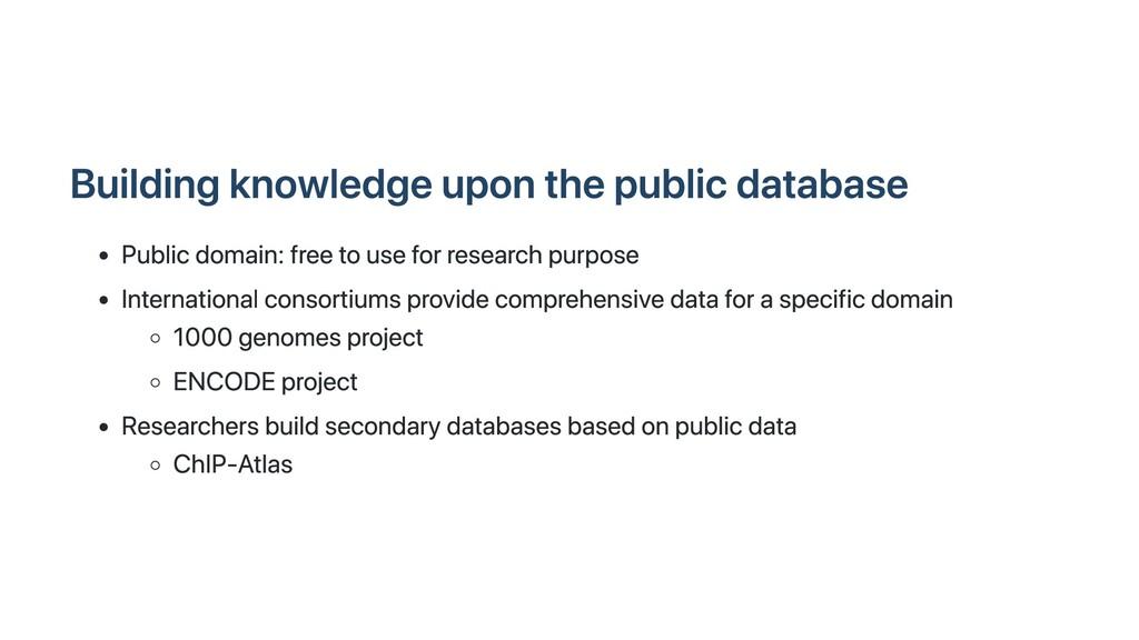 Building knowledge upon the public database Pub...