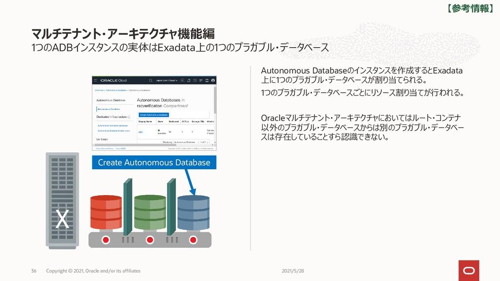 1つのADBインスタンスの実体はExadata上の1つのプラガブル・データベース Autono...
