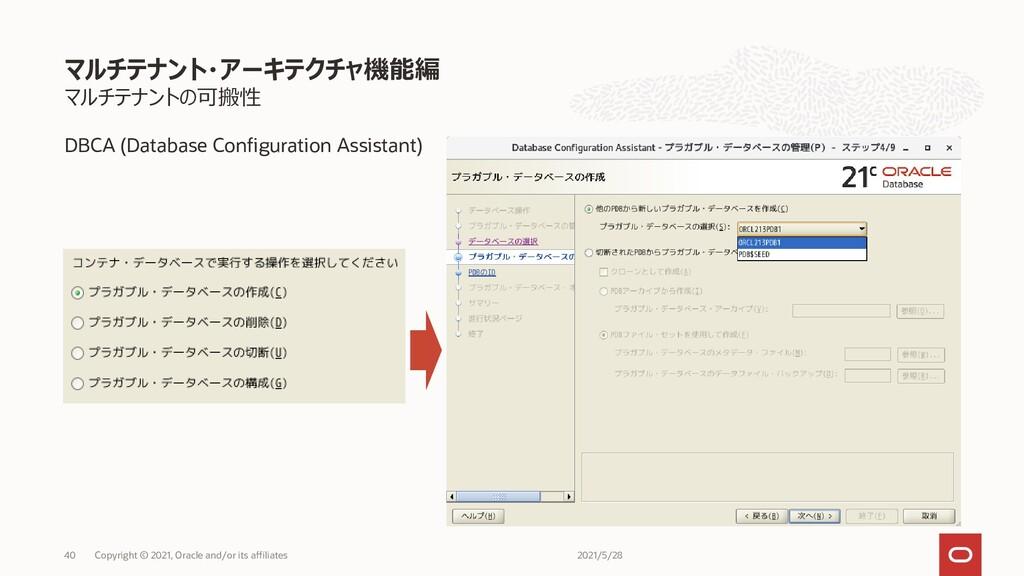 マルチテナントの可搬性 DBCA (Database Configuration Assist...