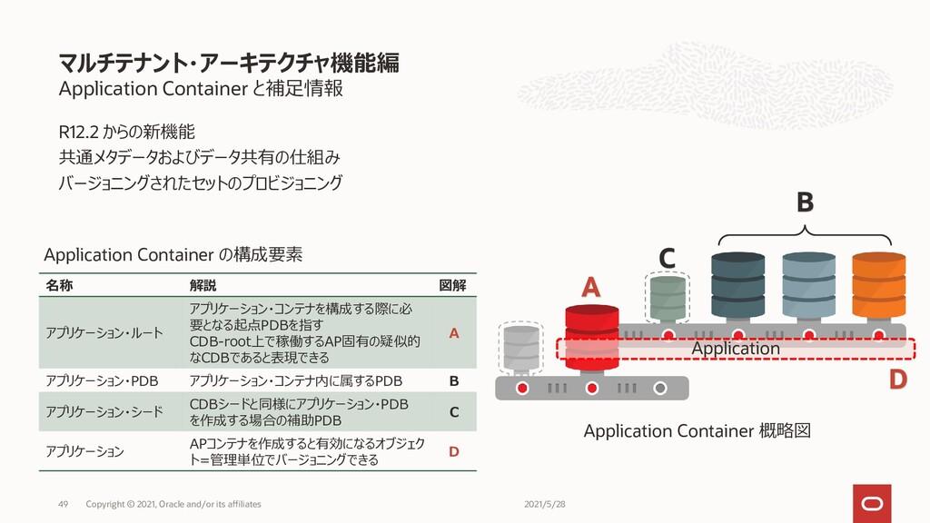 Application Container と補足情報 R12.2 からの新機能 共通メタデー...