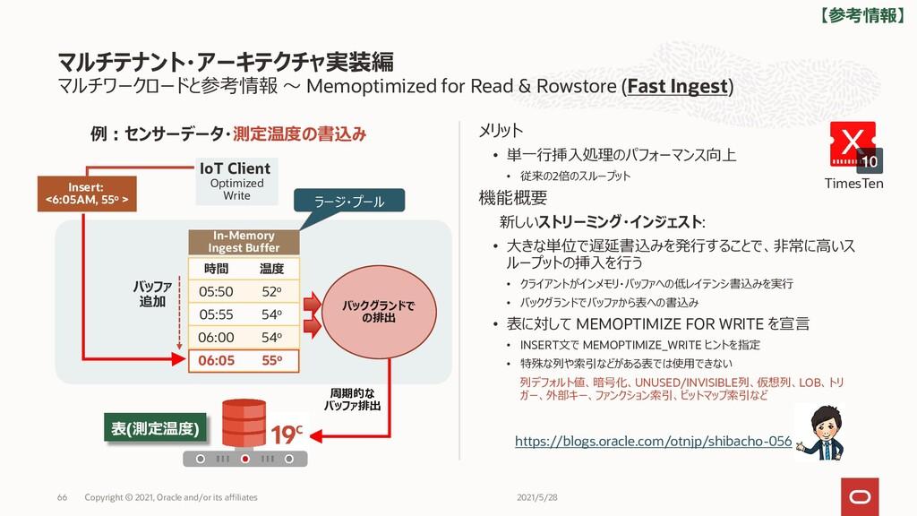 マルチワークロードと参考情報 ~ Memoptimized for Read & Rowsto...