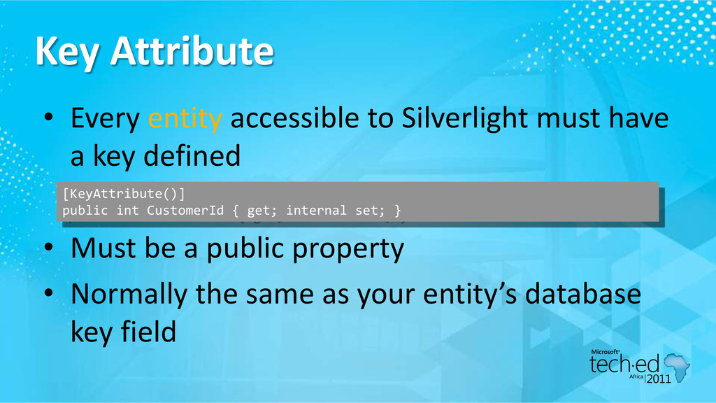 Key Attribute • Every entity accessible to Silv...