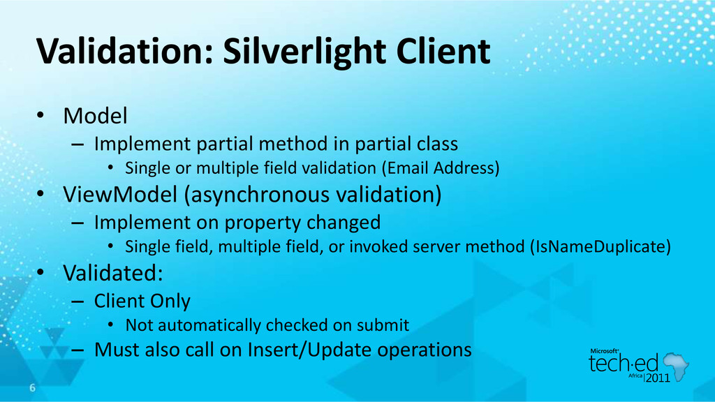 Validation: Silverlight Client • Model – Implem...