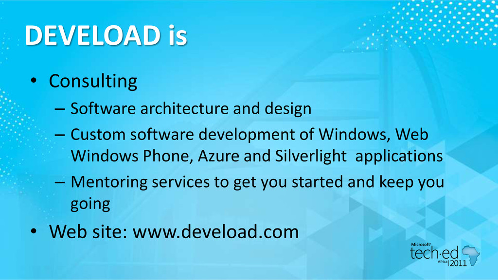 DEVELOAD is • Consulting – Software architectur...