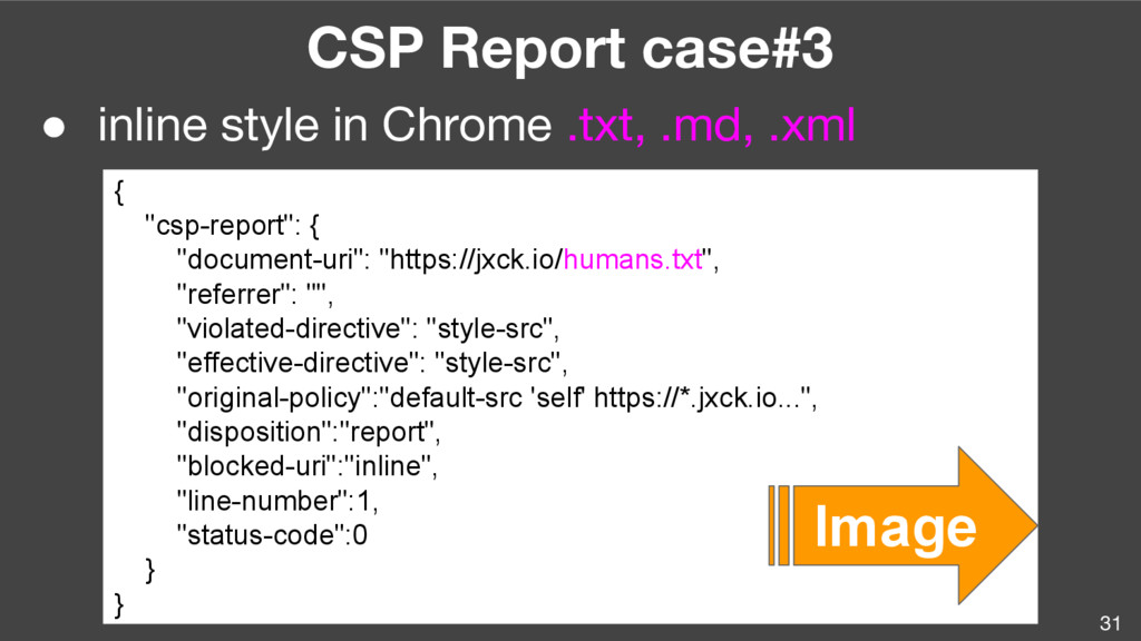 31 CSP Report case#3 ● inline style in Chrome ....