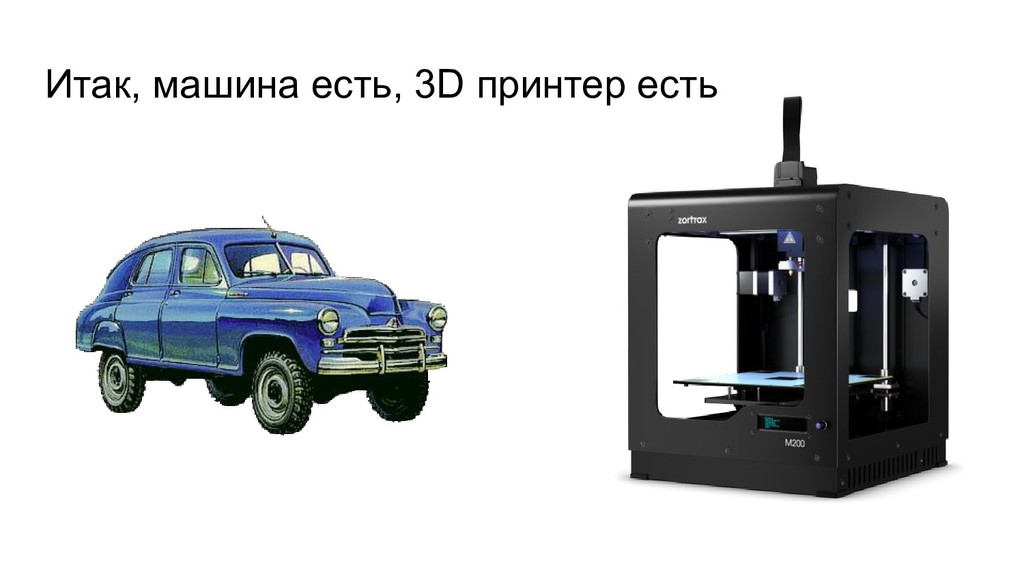 Итак, машина есть, 3D принтер есть