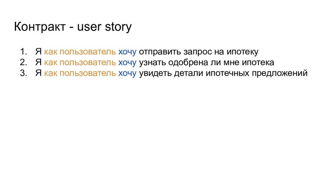Контракт - user story 1. Я как пользователь хоч...