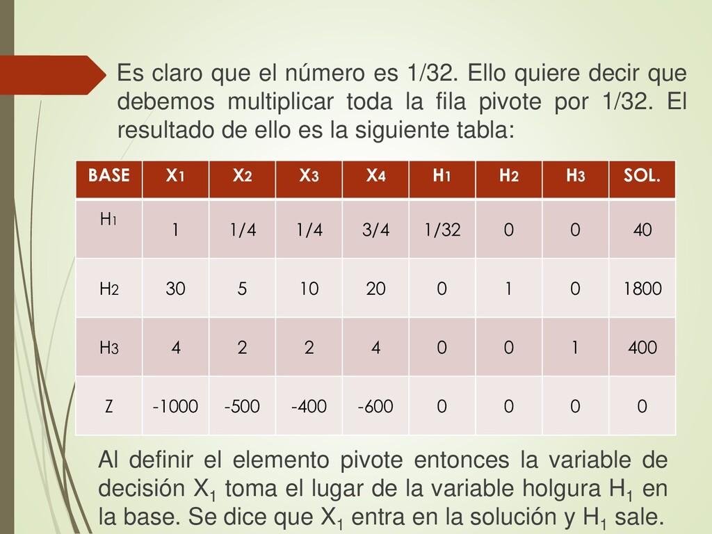 BASE X1 X2 X3 X4 H1 H2 H3 SOL. H1 1 1/4 1/4 3/4...