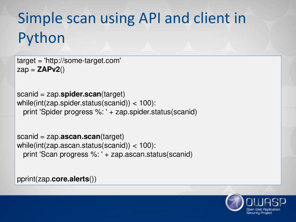 Simple scan using API and client in Python targ...
