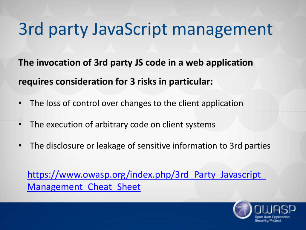 3rd party JavaScript management The invocation ...
