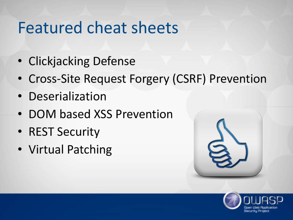 Featured cheat sheets • Clickjacking Defense • ...