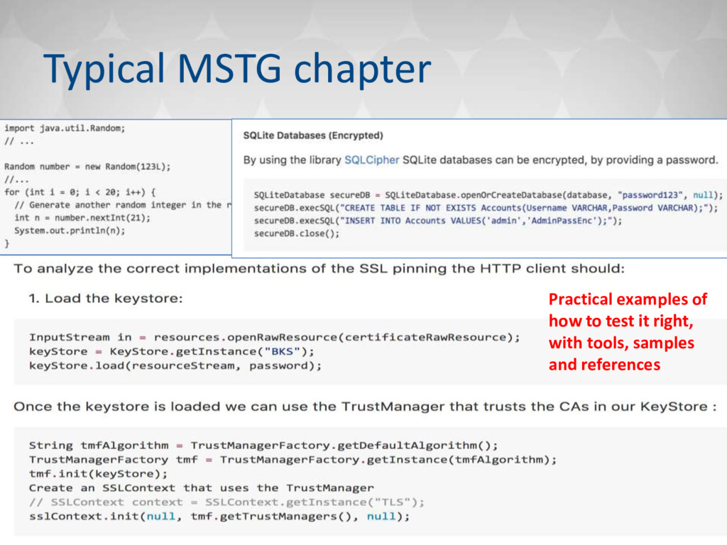 Typical MSTG chapter Practical examples of how ...