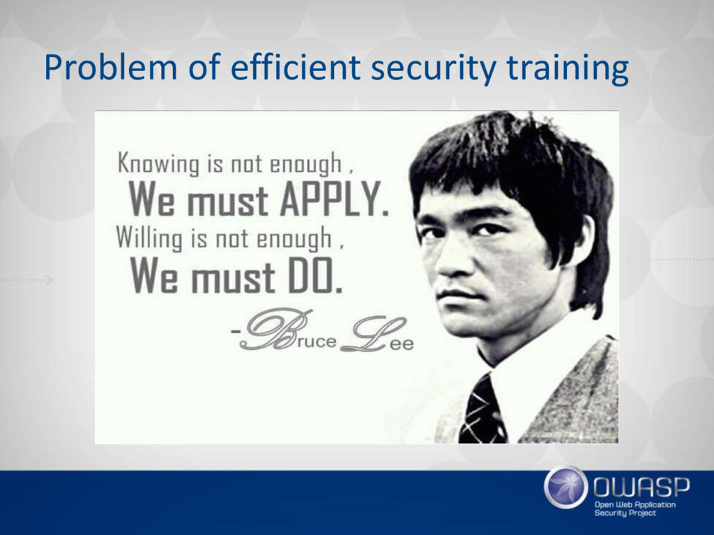 Problem of efficient security training