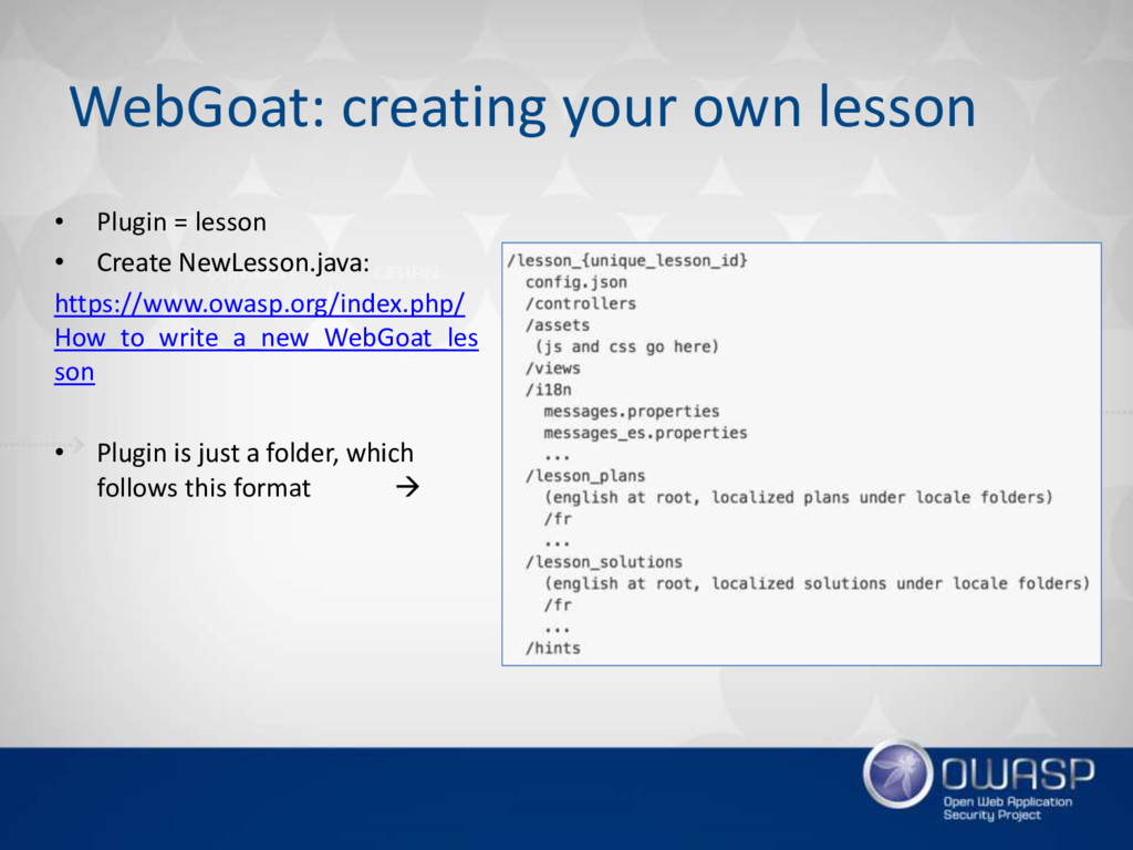 WebGoat: creating your own lesson • Plugin = le...
