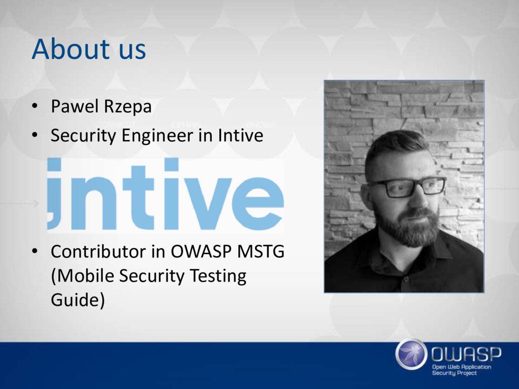 About us • Pawel Rzepa • Security Engineer in I...