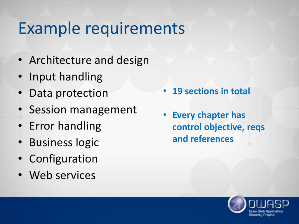 Example requirements • Architecture and design ...