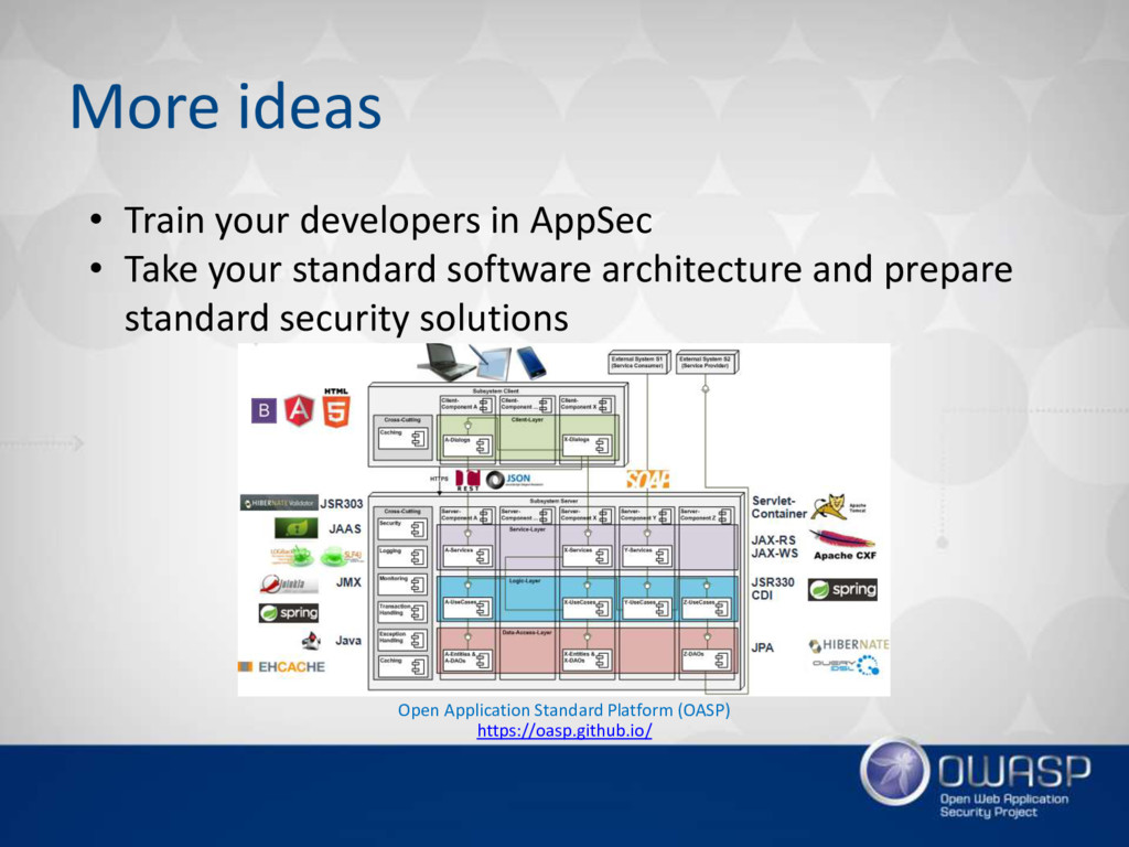 More ideas • Train your developers in AppSec • ...