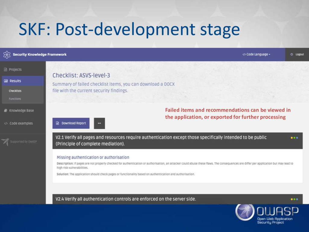 SKF: Post-development stage Failed items and re...