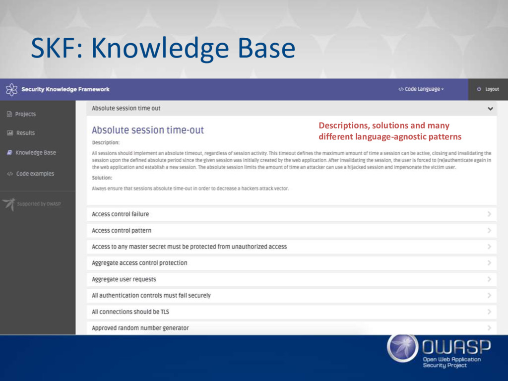 SKF: Knowledge Base Descriptions, solutions and...