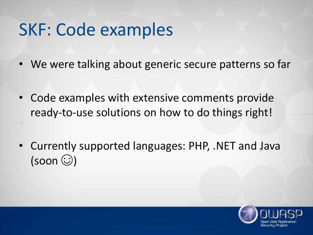 SKF: Code examples • We were talking about gene...