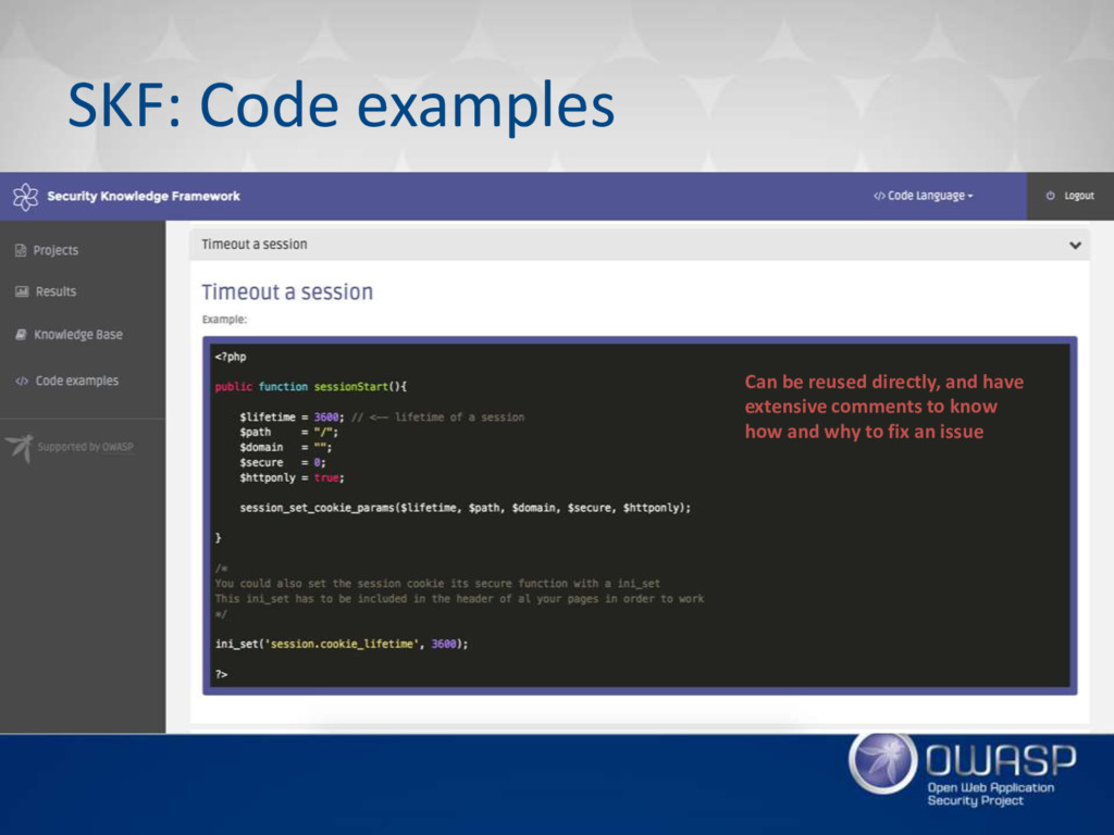 SKF: Code examples Can be reused directly, and ...