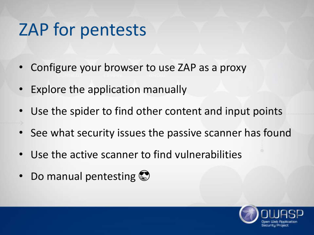 ZAP for pentests • Configure your browser to us...