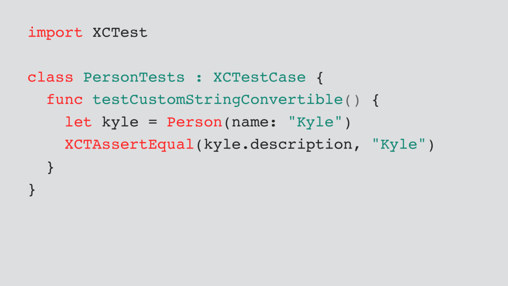 import XCTest class PersonTests : XCTestCase { ...