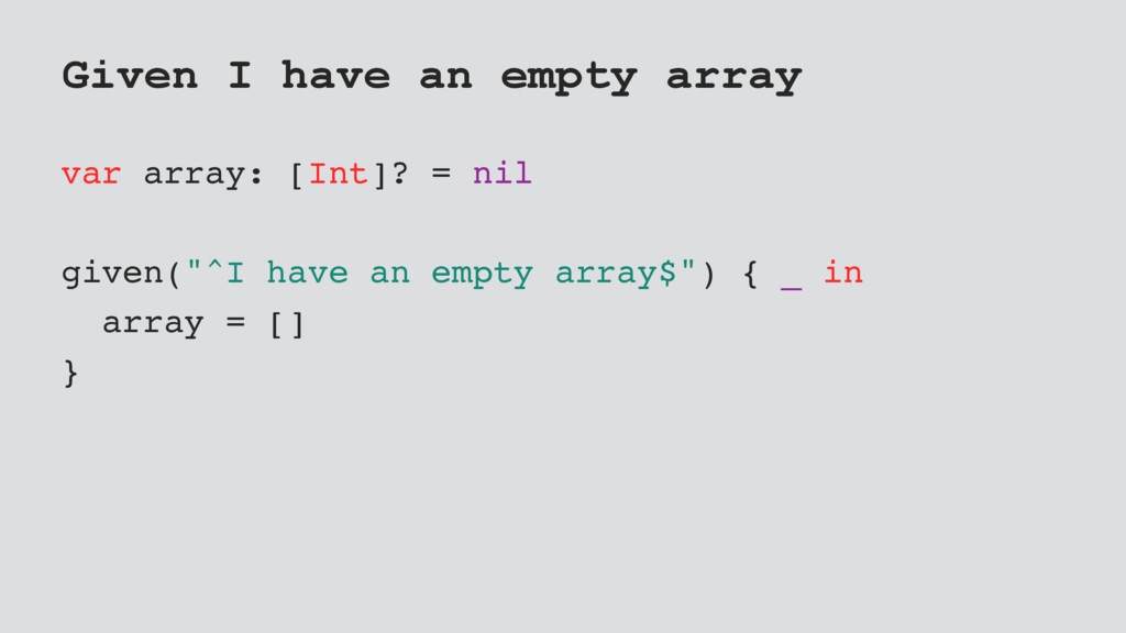 Given I have an empty array var array: [Int]? =...
