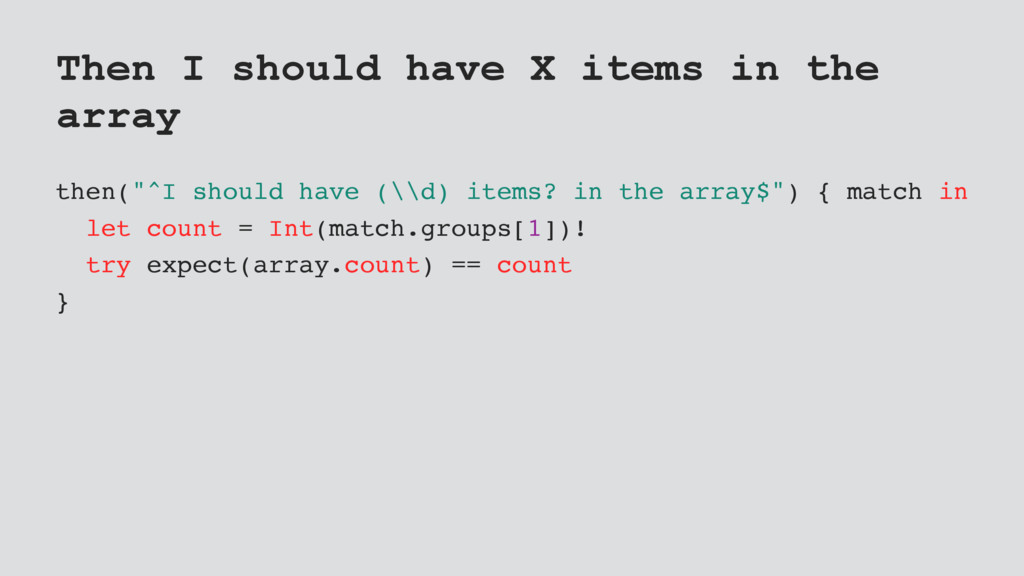 "Then I should have X items in the array then(""^..."