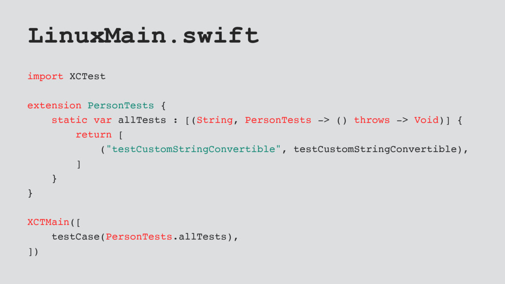 LinuxMain.swift import XCTest extension PersonT...