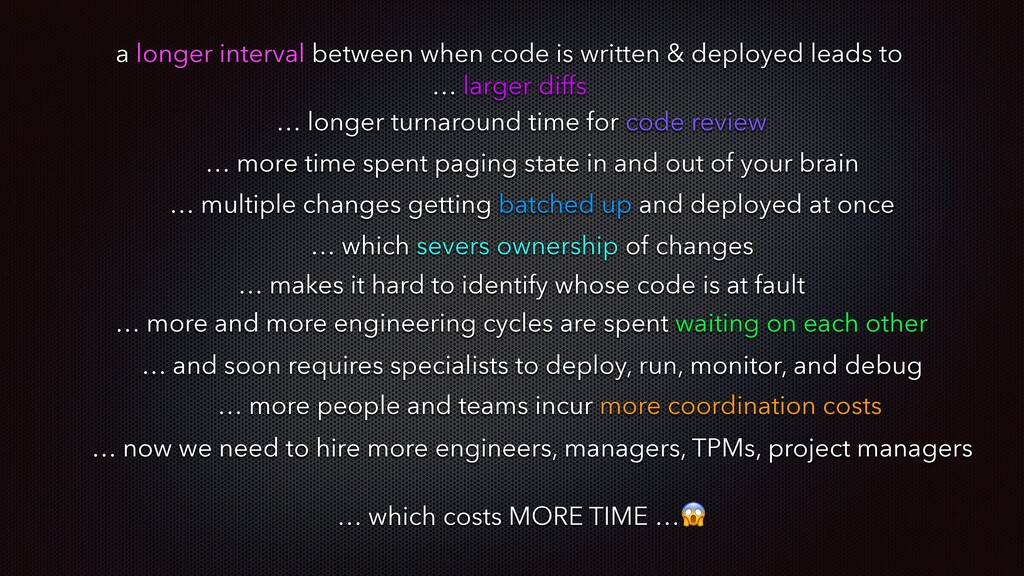 a longer interval between when code is written ...