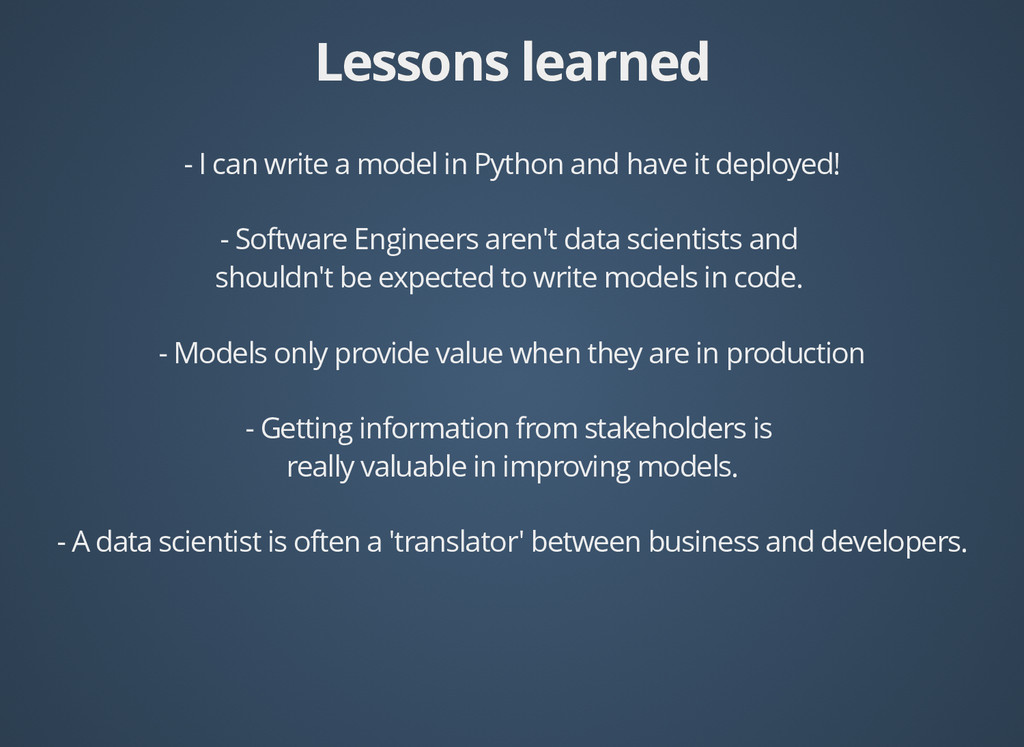 Lessons learned Lessons learned - I can write a...