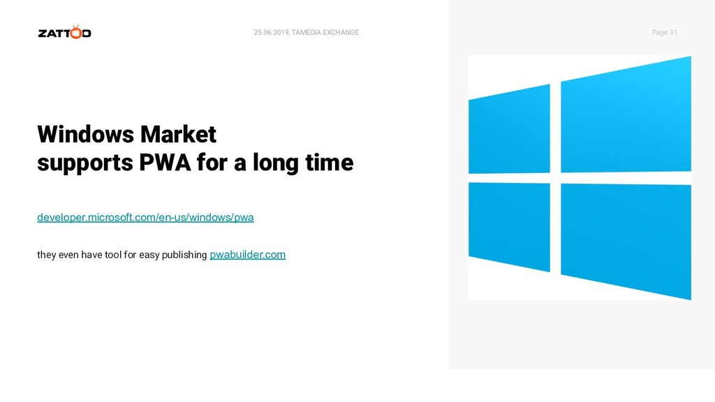 Windows Market supports PWA for a long time 25....