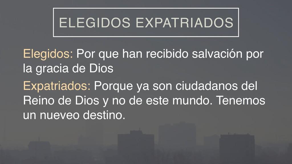 ELEGIDOS EXPATRIADOS Elegidos: Por que han reci...