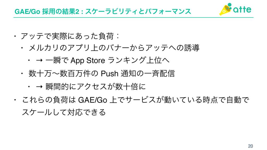 GAE/Go ࠾༻ͷ݁Ռ2 : εέʔϥϏϦςΟͱύϑΥʔϚϯε 20 • ΞοςͰ࣮ࡍʹ͋ͬ...