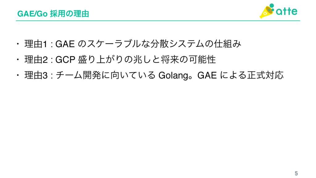 GAE/Go ࠾༻ͷཧ༝ 5 • ཧ༝1 : GAE ͷεέʔϥϒϧͳγεςϜͷΈ •...