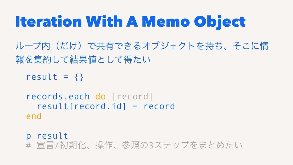 Iteration With A Memo Object ϧʔϓʢ͚ͩʣͰڞ༗Ͱ͖ΔΦϒδΣ...