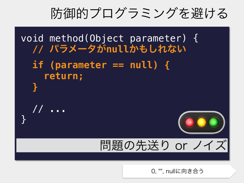 void method(Object parameter) { // ύϥϝʔλ͕null͔...