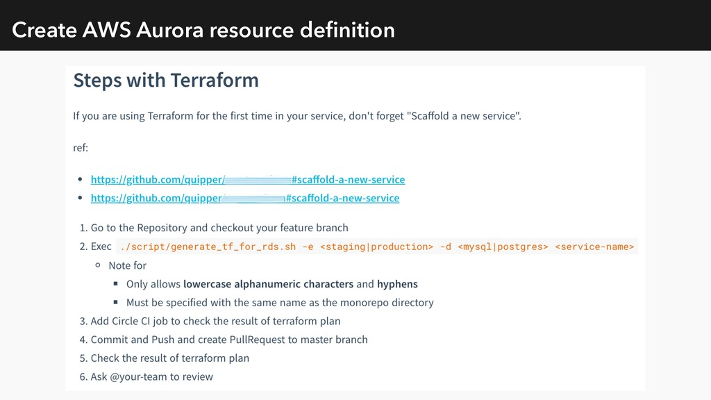 Create AWS Aurora resource definition