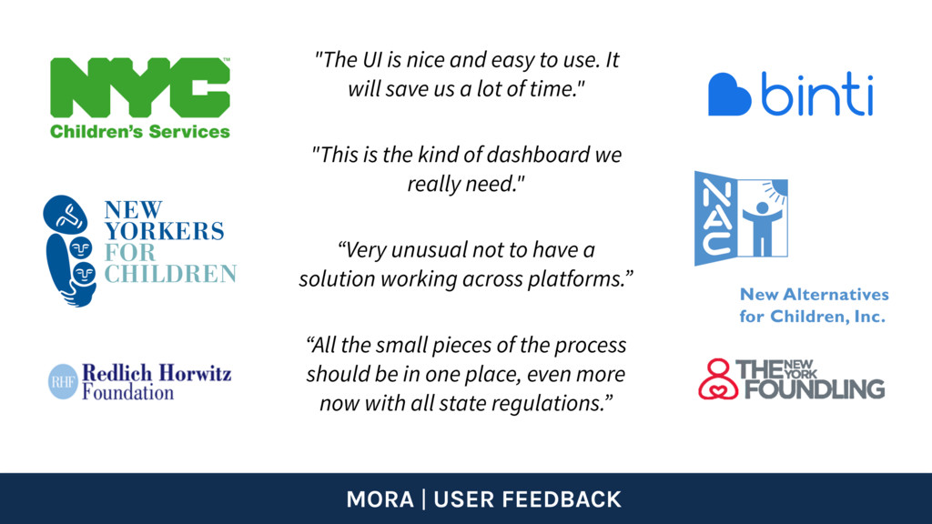 """MORA   USER FEEDBACK """"This is the kind of dashb..."""