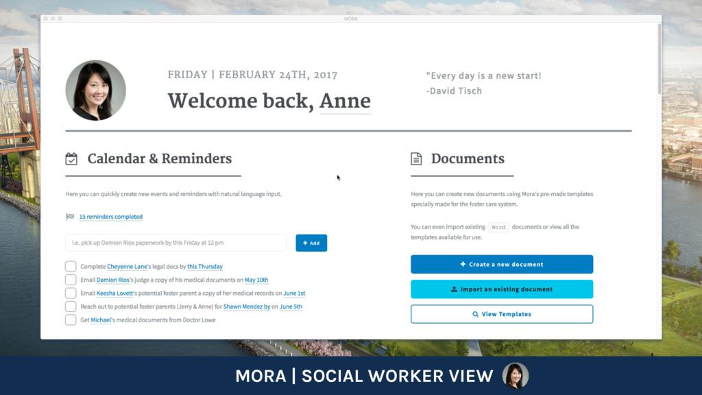 MORA   SOCIAL WORKER VIEW