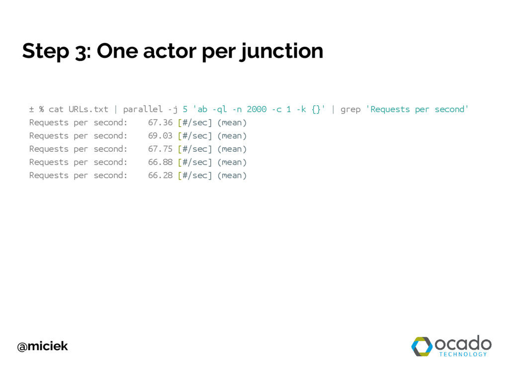 @miciek Step 3: One actor per junction ± % cat ...
