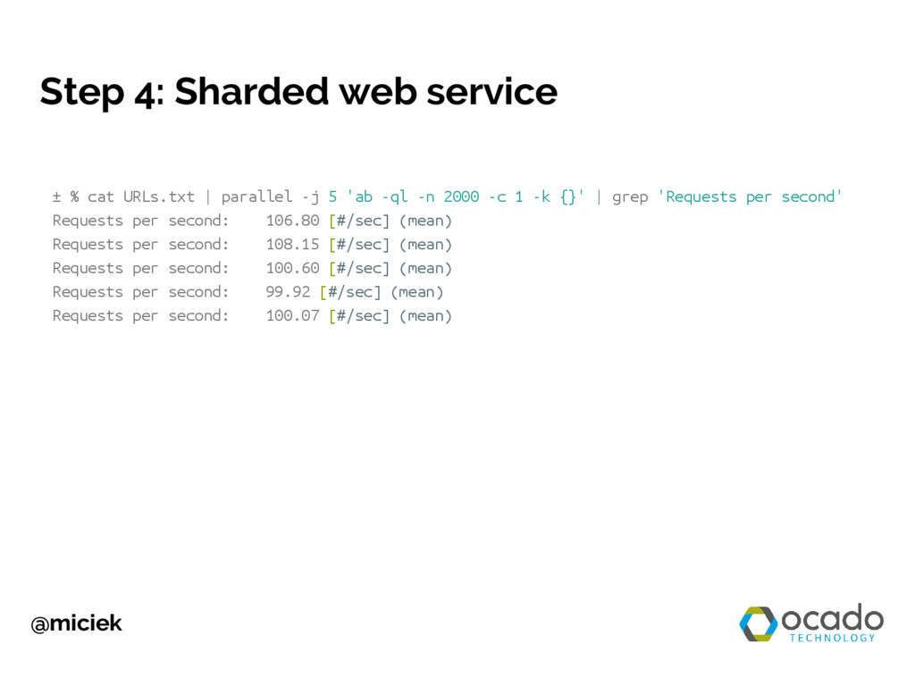 @miciek Step 4: Sharded web service ± % cat URL...