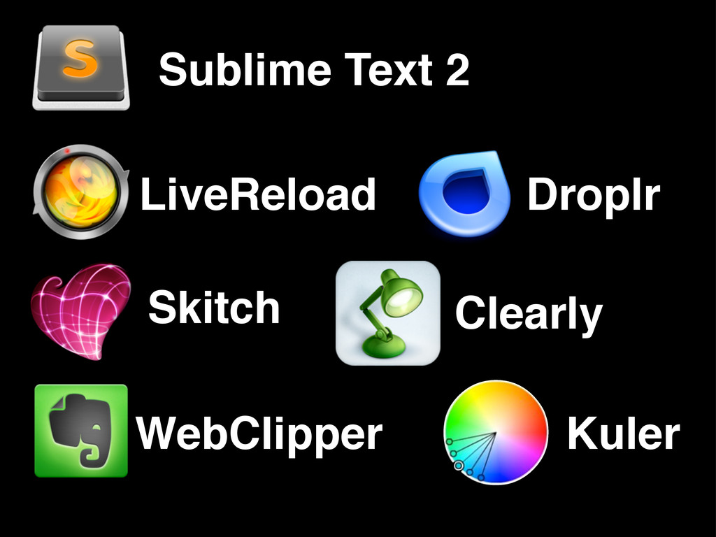Sublime Text 2 LiveReload Clearly Droplr Skitch...