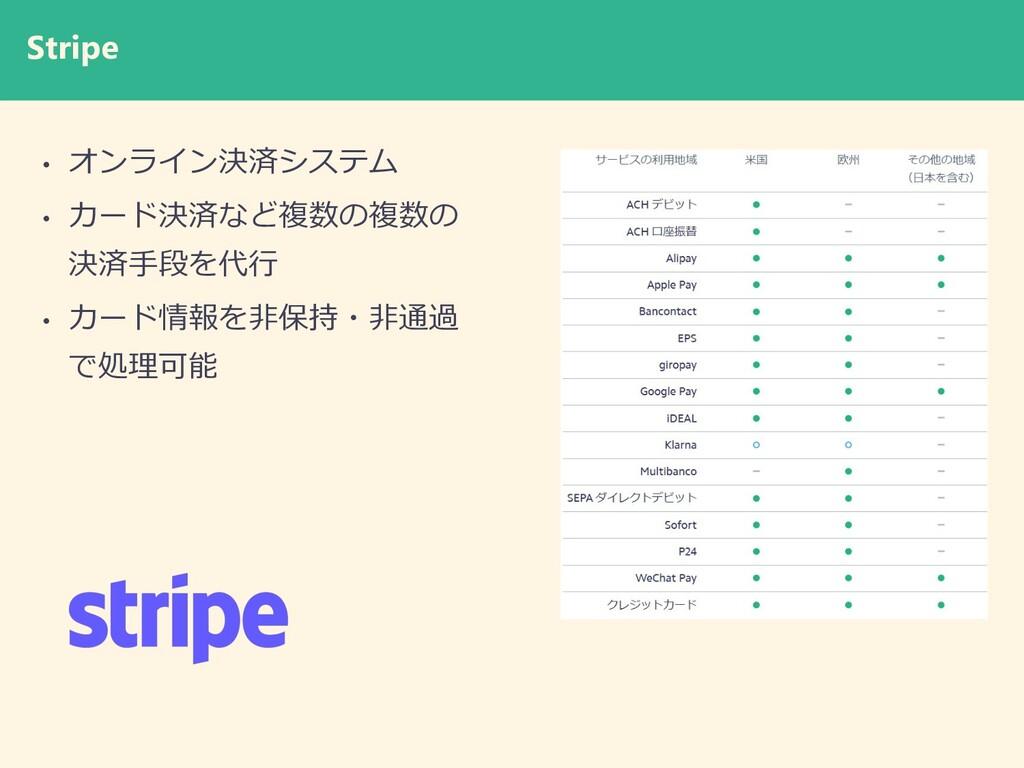 Stripe • オンライン決済システム • カード決済など複数の複数の 決済⼿段を代⾏ • ...