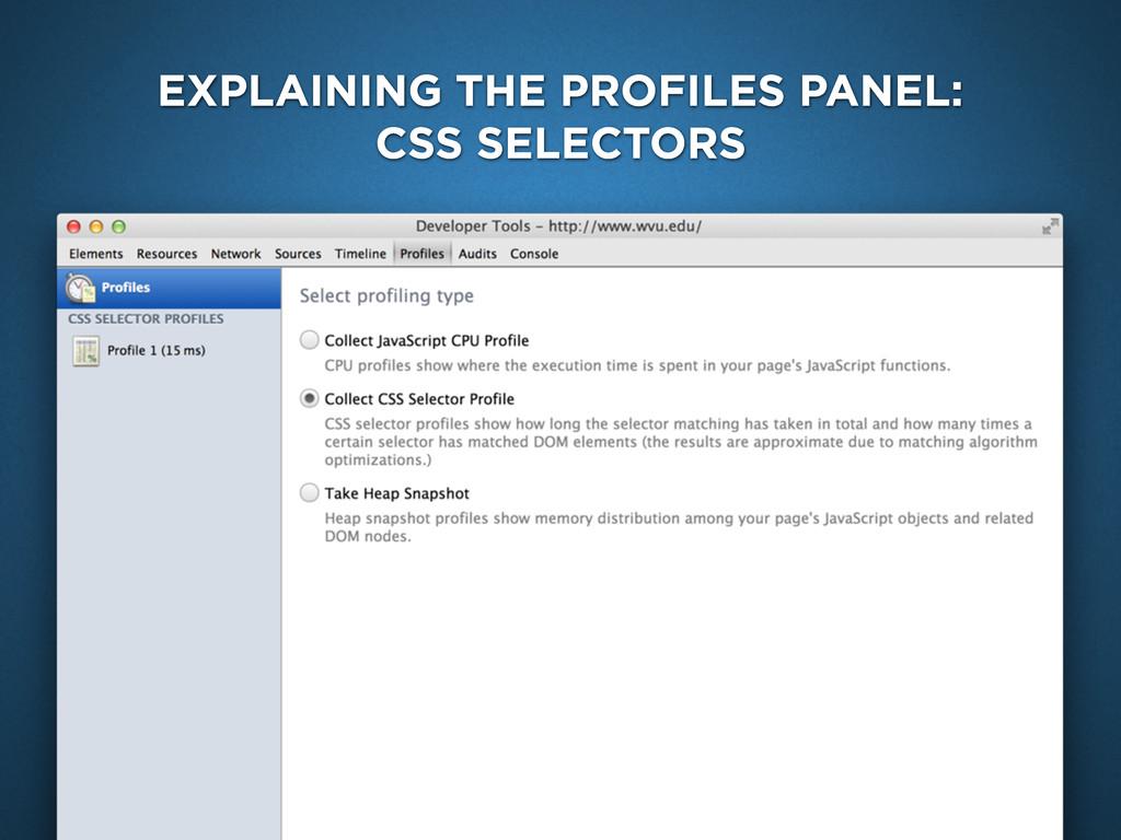 EXPLAINING THE PROFILES PANEL: CSS SELECTORS