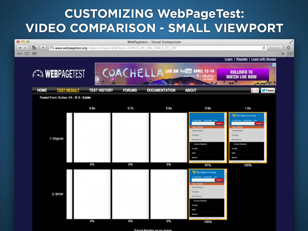 CUSTOMIZING WebPageTest: VIDEO COMPARISON - SMA...