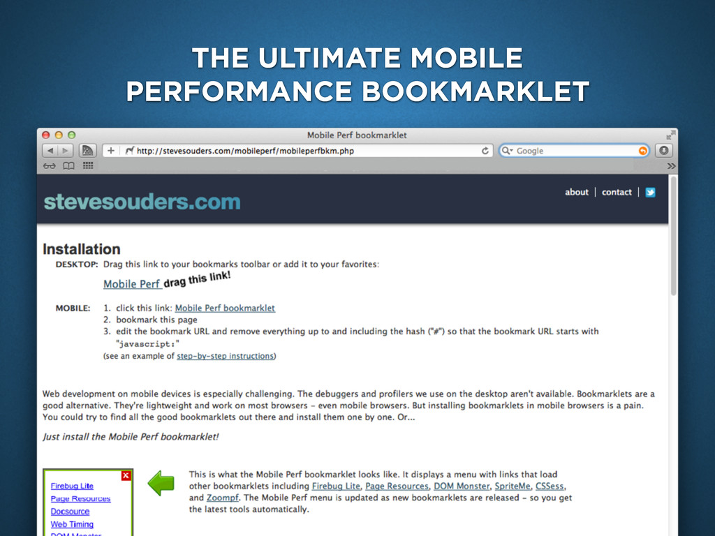 mobile bookmarklet THE ULTIMATE MOBILE PERFORMA...